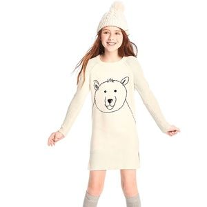 Gap girls off white sweater dress with bear print
